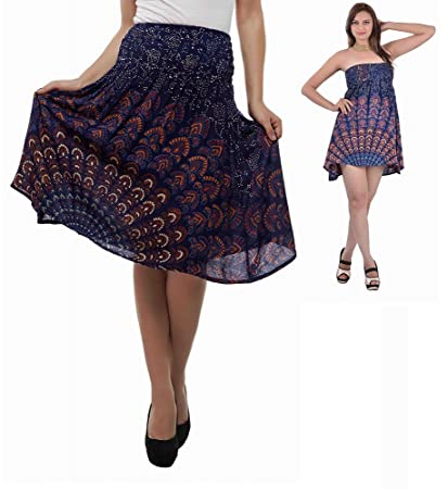 cd82c2ae0af Ganesham Handicraft - Womens Mandala Beach Swimsuit Bikini Cover up Wrap  Peacock Indian Mandala Dress