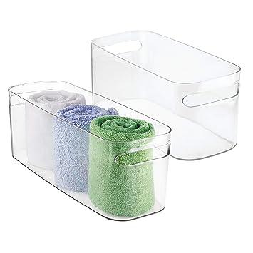 mDesign Juego de 2 cestas para baño – Cajas organizadoras de plástico para toallas, productos
