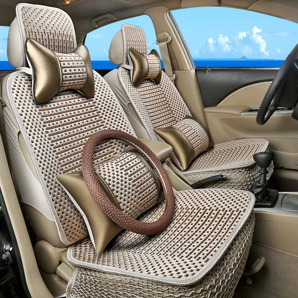 Qi Peng Five-seat car seat Special Hand-Woven Cushion Cover Summer Cool Cushion Cover seat Cushion (Color : B, Edition : 3#)