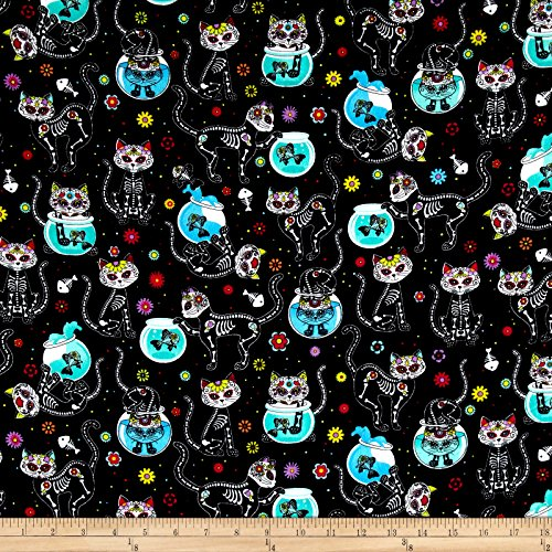 Timeless Treasures Flannel Cat Skeletons & Fishbowls Black Fabric by The Yard