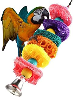 Ikevan 1 pc Parrot Toy Bird Cage Cockatoo Conure Grasp Chew Loofah Sponge Bite-resistant