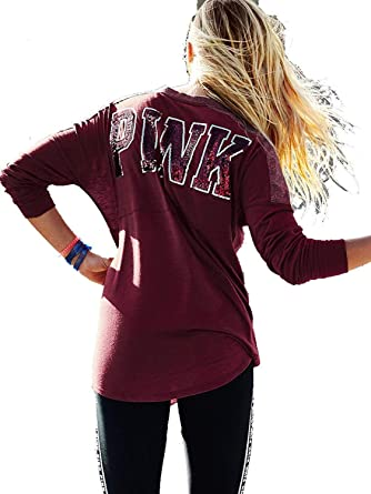 a4e7eb229fd29 Victoria's Secret Pink Bling V-Neck Varsity Crew Tee, Russian Ruby, Small