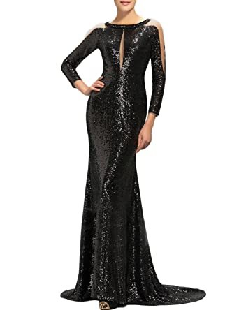 313c7c9b4eeb MonaBridal Women's Sexy Sequin Prom Gown Long Sleeve Mermaid Formal Long  Evening Dress Black Size 2