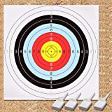 Archery Target, GEEKHOM 60 cm Bullseye Archery and Gun Targets, Shooting Targets Set(10 Papers Packs, 4 Pins)