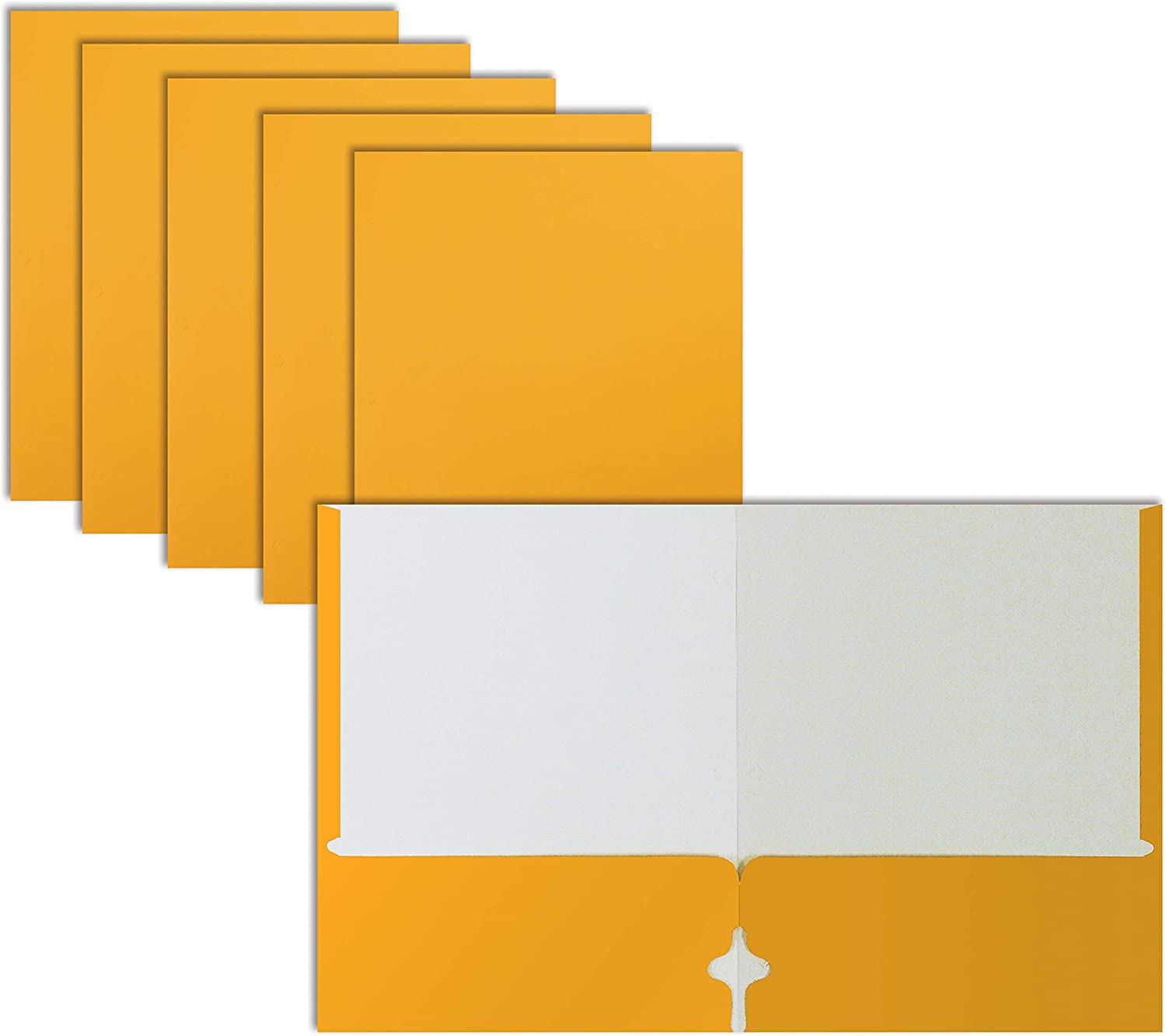 Two Pocket Portfolio Folders, 50-Pack, Dark Yellow, Letter Size Paper Folders, by Better Office Products, 50 Pieces, Dark Yellow