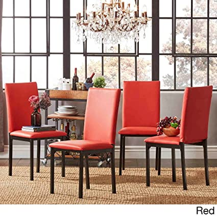 Amazoncom Darcy Metal Upholstered Dining Chair Set Of 4 Red