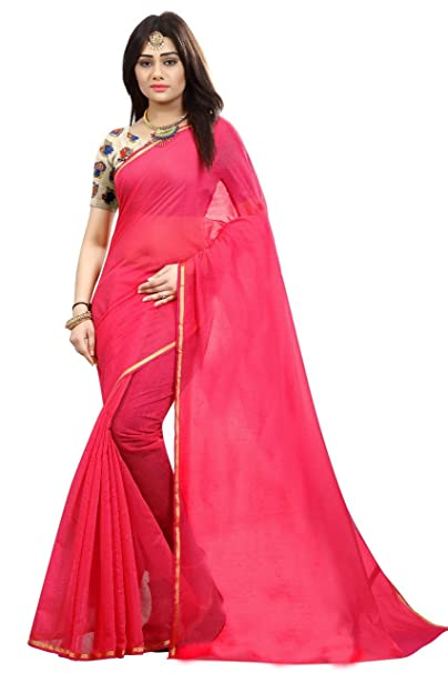 07e419ab677c91 SilverStar Women s Plain Chanderi Cotton Pink Color Saree With kalamkari  Printed Blouse Piece  Amazon.in  Clothing   Accessories