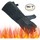 OZERO Welding Gloves, Genuine Leather Extreme Heat Resistant Glove for MIG/Tig Welder/Fireplace/Stove/Wood Cutting - Insulated Cotton Soft Lining - 16 inches Long Sleeve for Men & Women - Gray