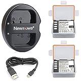 Newmowa DMW-BLF19 DMW-BLF19E 互換バッテリー 2個 + 充電器 セットPanasonic DMW-BLF19 Panasonic DMW-BLF19E Panasonic Lumix DMC-GH3 DMC-GH3A DMC-GH3H DMC-GH4 DMC-GH4H DC-GH5 DC-GH5S