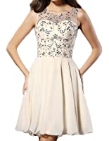 Udresses Womens Sheer Neck Beaded Homecoming Gown A-line Prom Dresses Short HC96