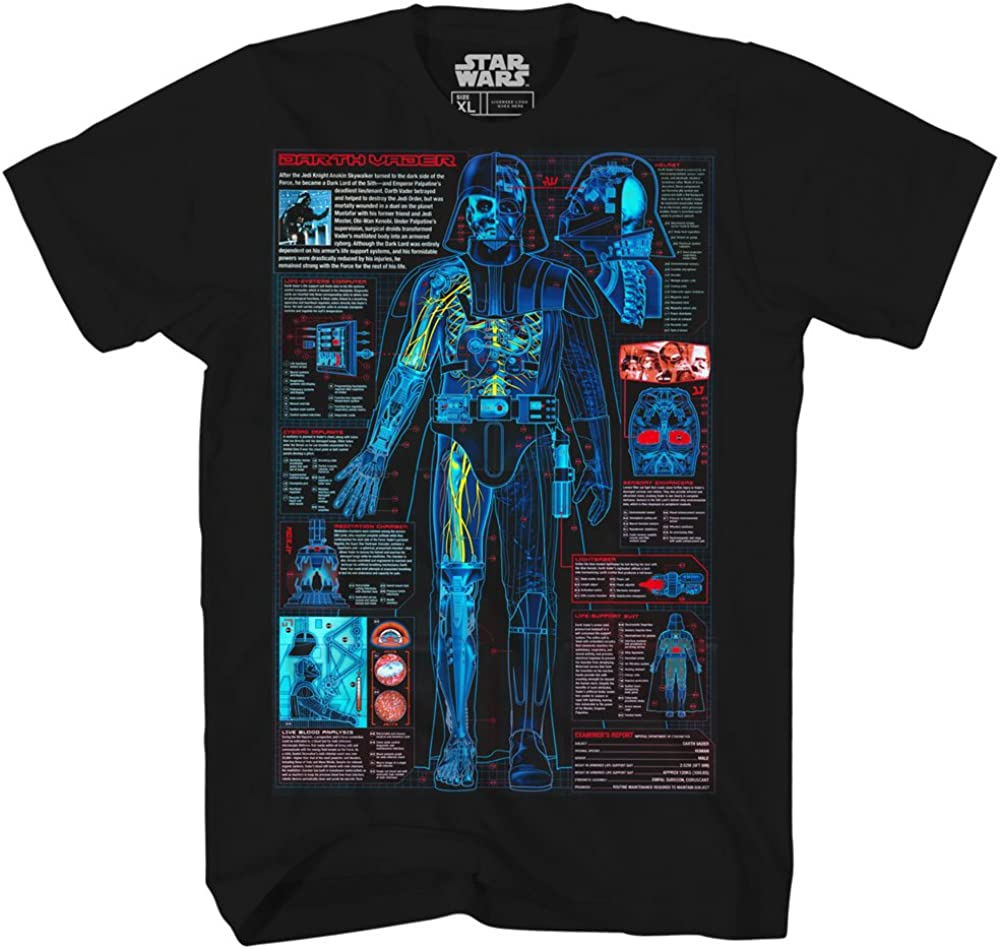 Darth Vader Schematic Blueprint Lightsaber Adult Mens Graphic Tee T-Shirt Apparel Black