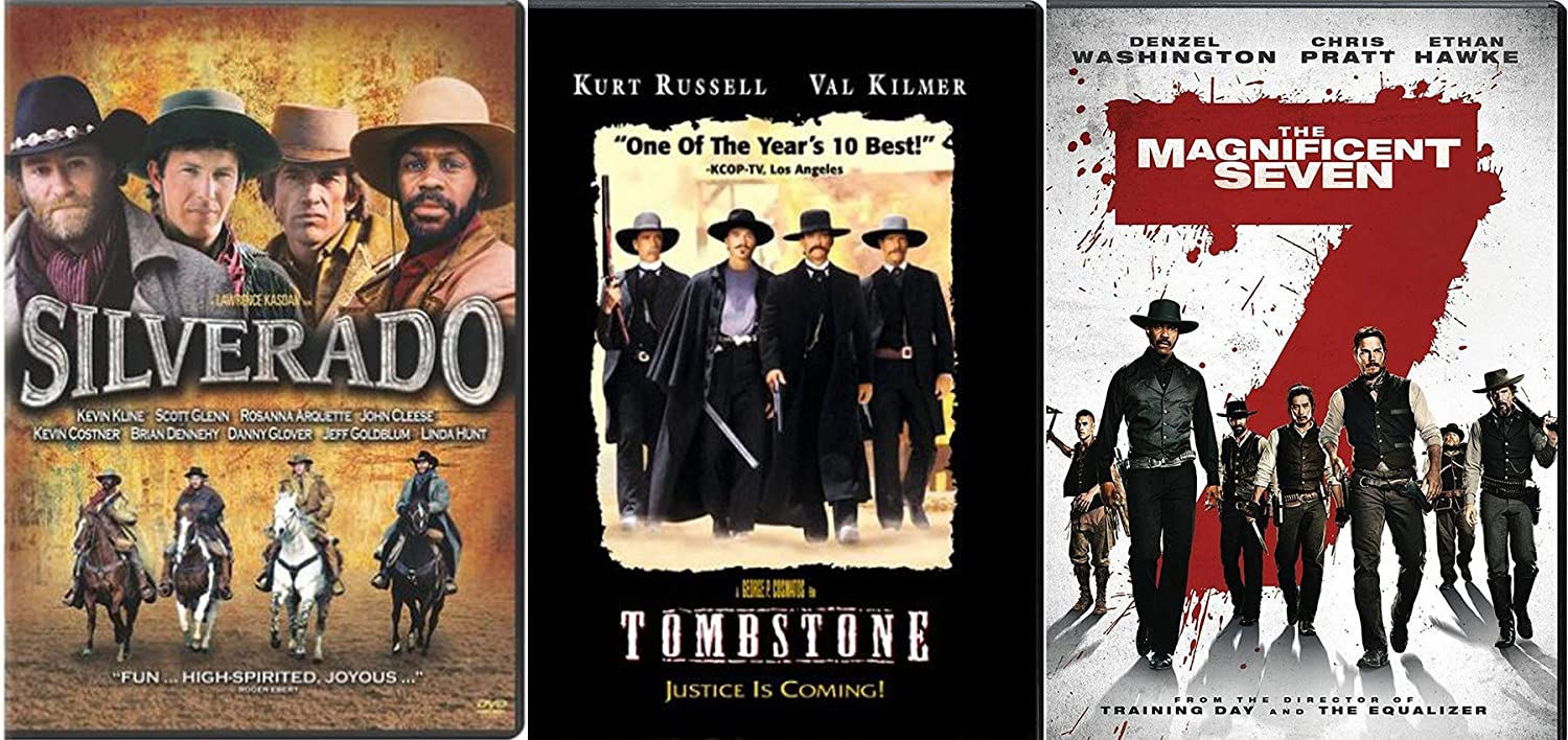 Get ready For Some Wild Rides Triple Feature Wyatt Earp in Tombstone + 2016 Magnificent Seven & Silverado DVD Western Horses & Guns Pack