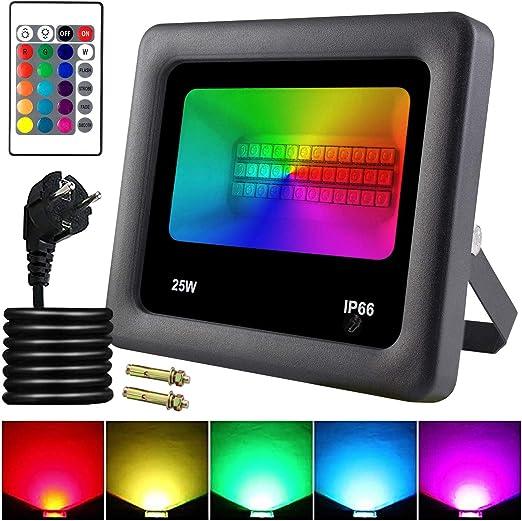 25W Foco LED RGB Exterior con Control Remoto de 16 Colores ...