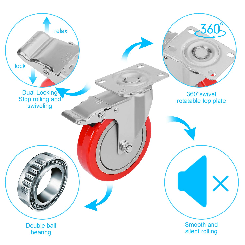 GloEra 5 inch Swivel Caster Wheels Heavy Duty 1500 LBS Capacity with Safety