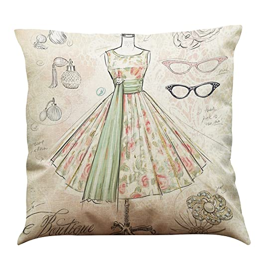 MStar bonitas joyas Impreso costura almohada 45 x 45 cm lino ...