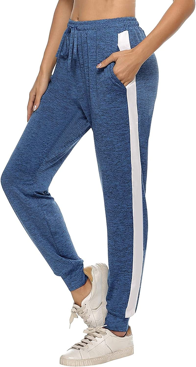 Abollria Womens Side Stripe Casual Sports Trousers,Athletic Pants Drawstring Sweatpants with Pockets for Running Workout Gym Yoga Jogger Bottoms