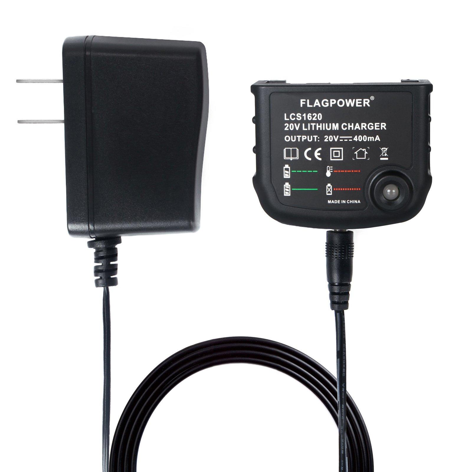 FLAGPOWER 20Volt Li-Ion Battery Charger LCS1620 for Black+Decker 16V 20V Lithium Ion Battery LBXR20 LBXR20-OPE LB20 LBX20 LBX4020 LB2X4020 LBXR2020-OPE BL1514 LBXR16
