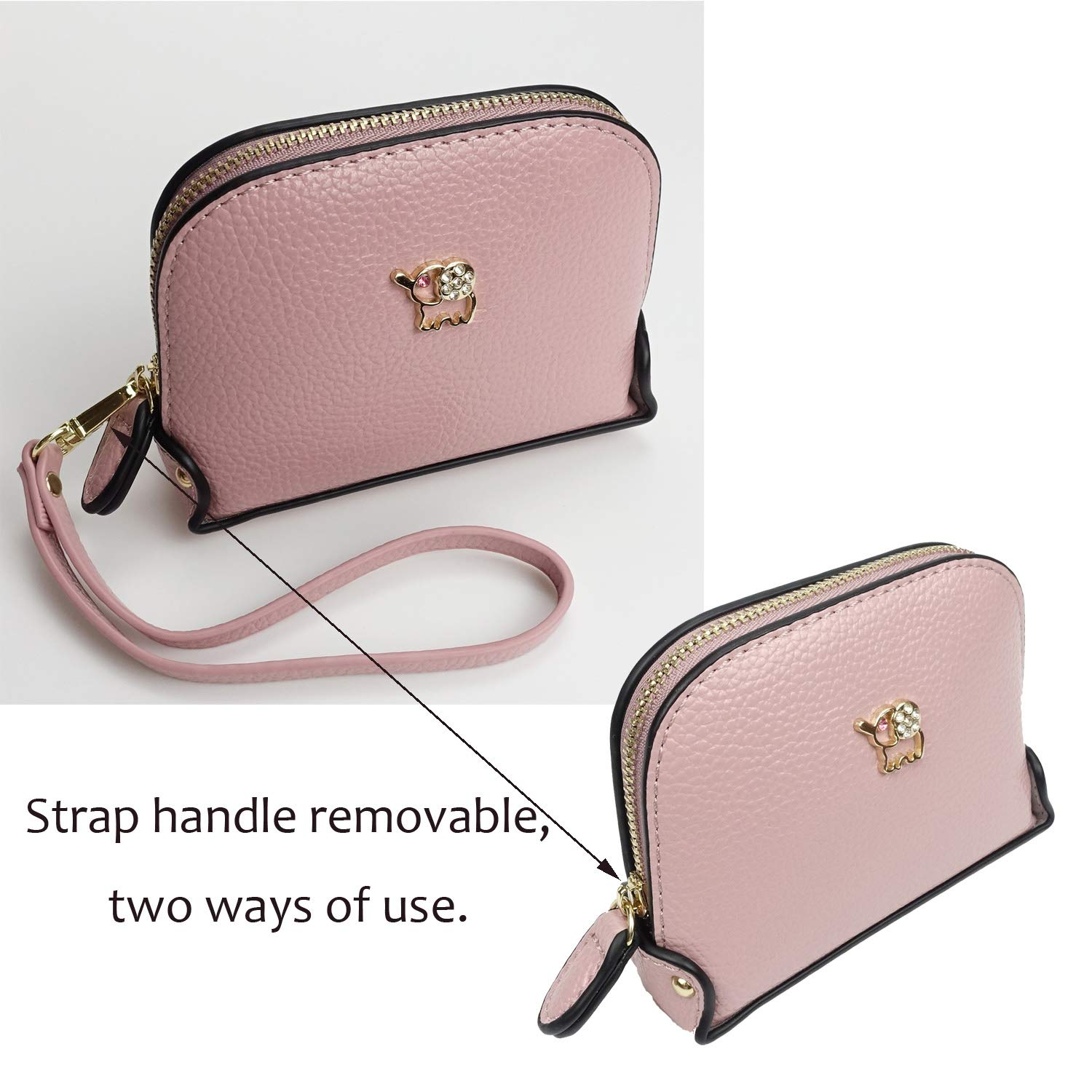 Coin Purse Wallet leather Wristlet Handbags with Wrist Strap Cute Mini Designer Pouch Great Gifts for Women Girls(Elephant Pink) by JZE (Image #7)