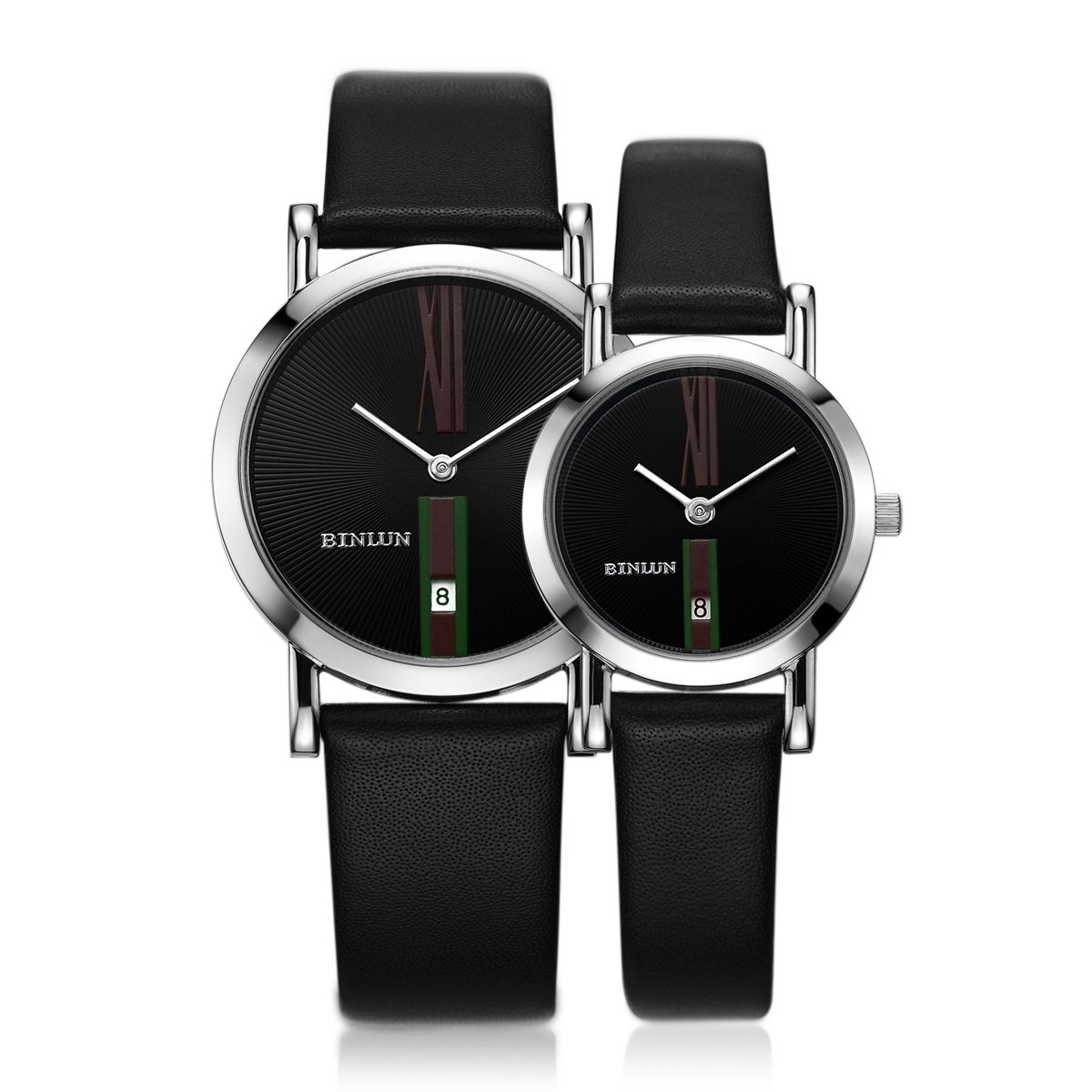 BINLUN Pair Couple Watches Set His and Hers Gifts Minimalist Waterproof Quartz Leather Watches with Date