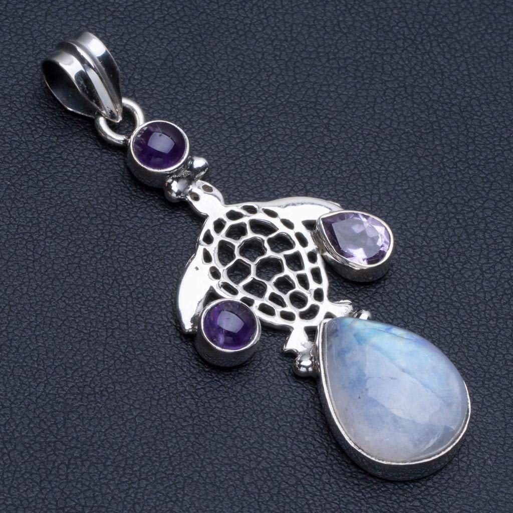 Natural Rainbow Moonstone and Amethyst Punk Style 925 Sterling Silver Pendant 2 R0594