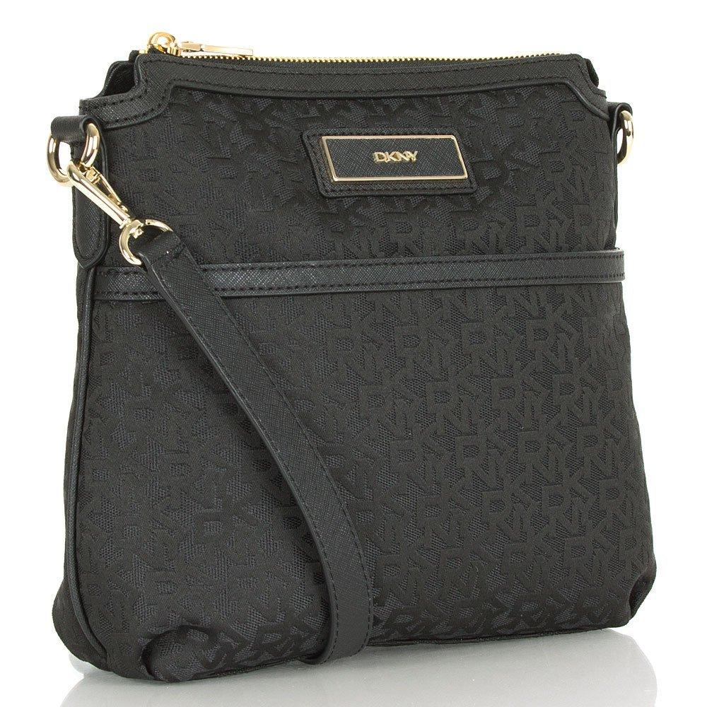 65ed98f220cc DKNY Black R1410703 Women s Logo Crossbody Bag Black Fabric  Amazon.co.uk   Shoes   Bags