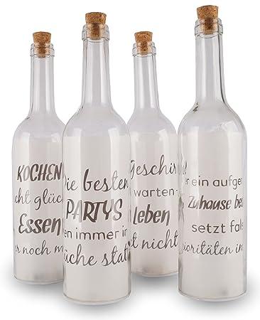 Levandeo 4 Deko Led Flaschen 30x7cm Glas Küche Lustige Sprüche