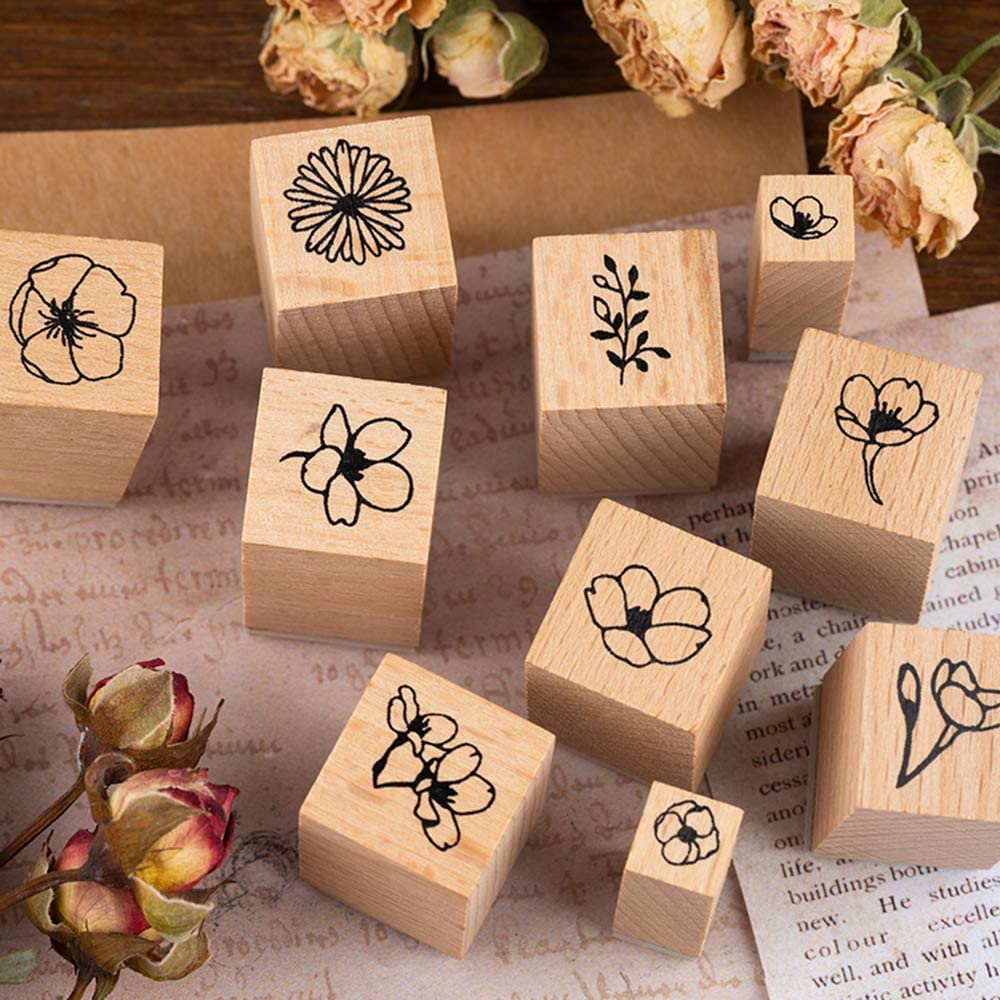 8 Pieces Vintage Wooden Rubber Stamps Plant /& Flower Decorative Mounted Rubber Stamp Set for DIY Craft Letters Diary and Craft Scrapbooking