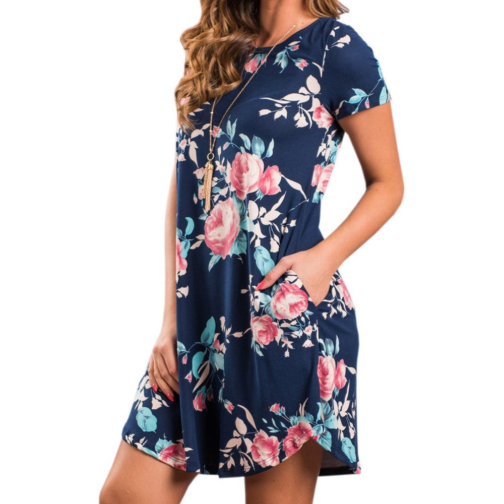 LIM&Shop  Women's Summer Casual T Shirt Dresses Short Sleeve Swing Dress with Pockets Navy by LIM&SHOP-Women Dresses