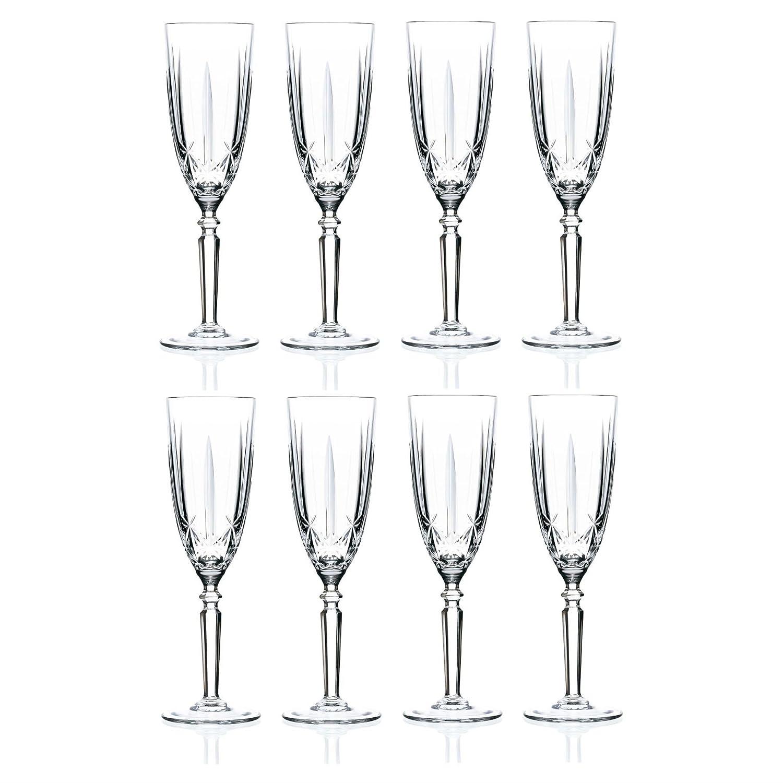 RCR Crystal Orchestra Crystal Champagne Flutes - 200ml (6.75oz) Set Of 8