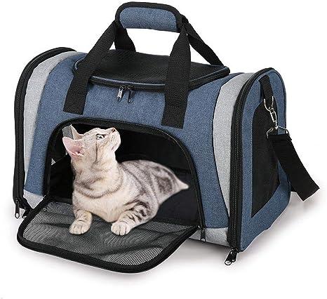 Mlec tech Bolsa de Transporte para Perro y Gato Plegable Respirable Malla Caja para el Transporte de Perro y Gato en avi/ón Coche Tren 18.11/x/11.02/x/11.42in by
