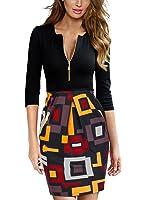 Miusol Women's Deep-V Neck 2/3 Sleeve Slim Sexy Business Pencil Dress