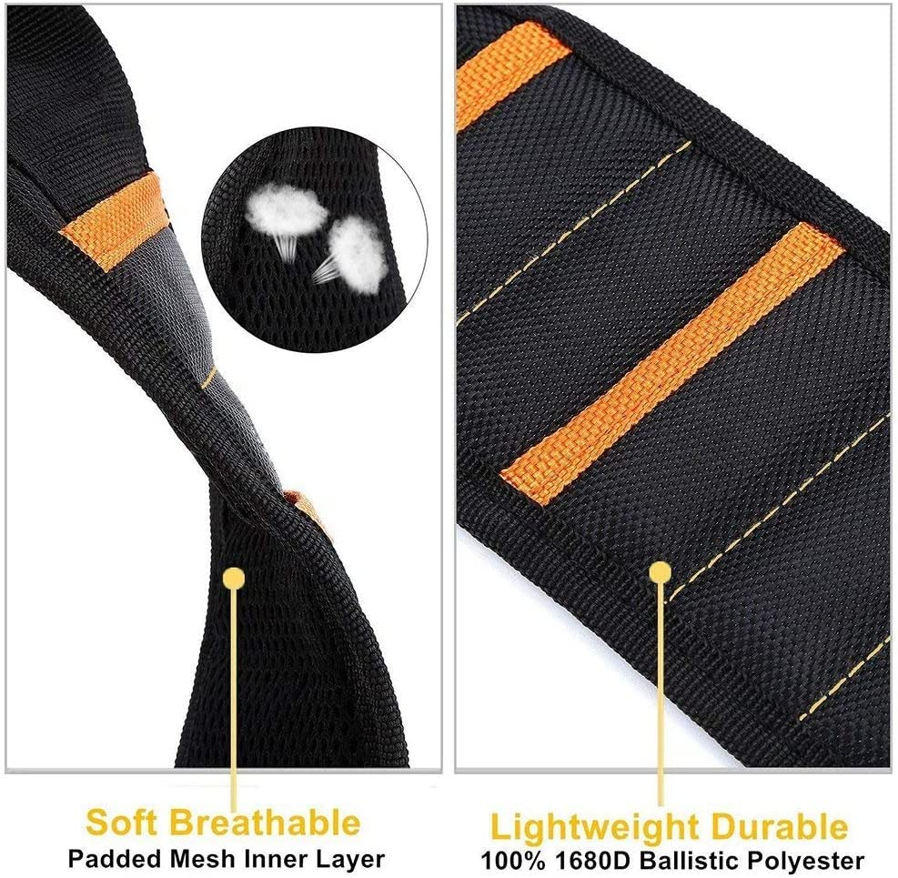 Bracelet /à Outils Magn/étiques Avec 10 Aimants Puissants Ronds Clips Poche Bracelet Magn/étique /à 5 Rangs pour Vis de Fixation Clous Ciseaux Forets