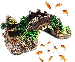 Fish Tank Landscaping Decorative Bridge,Aquarium Equipment Accessories Resin Bridge,Burtle Climbing Platform Retro Arch Bridge