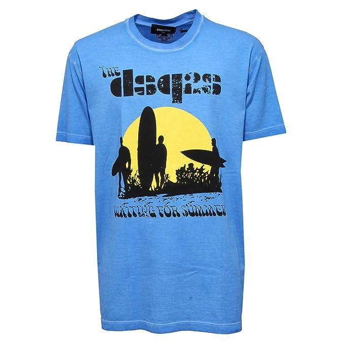 separation shoes cab4b a7824 T-shirt DSQUARED2 Uomo S74GD0197 S20694482A Azzurro - XXL ...