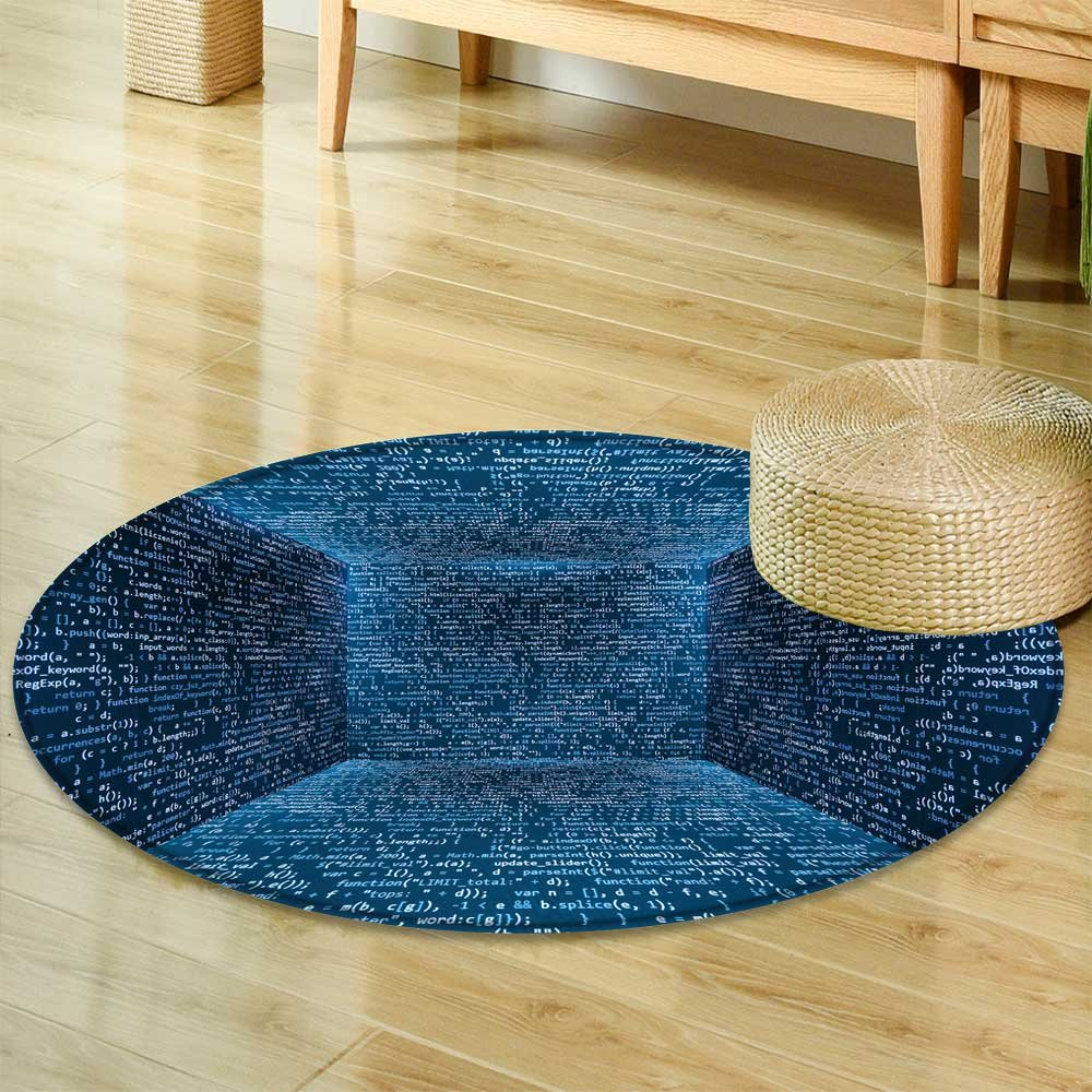 Round Area Rug Carpetvirtual abstract fantasy cyber reality room walls made of screen monitors with Living Dining Room Bedroom Hallway Office Carpet-Round 24''