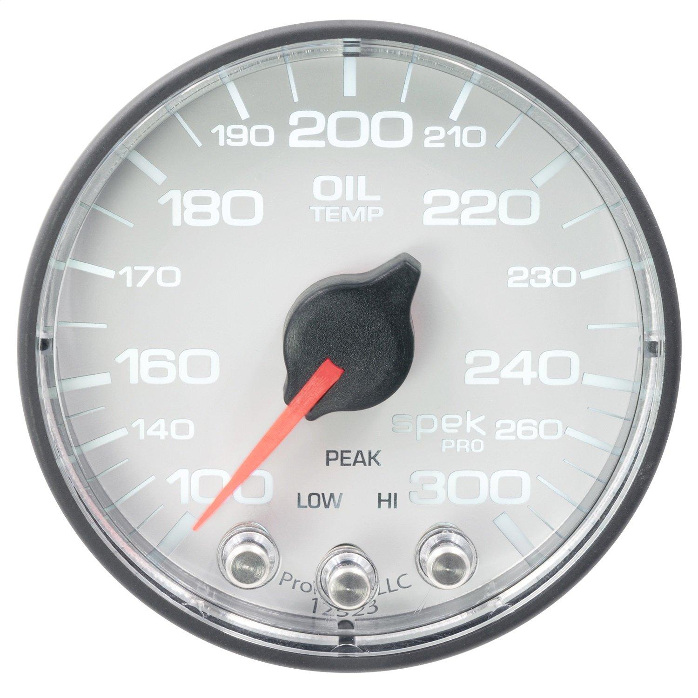 Auto Meter AutoMeter P322128 Gauge, Oil Temp, 2 1/16'', 300ºf, Stepper Motor W/Peak & Warn, Wht/Blk, Spek-Pro