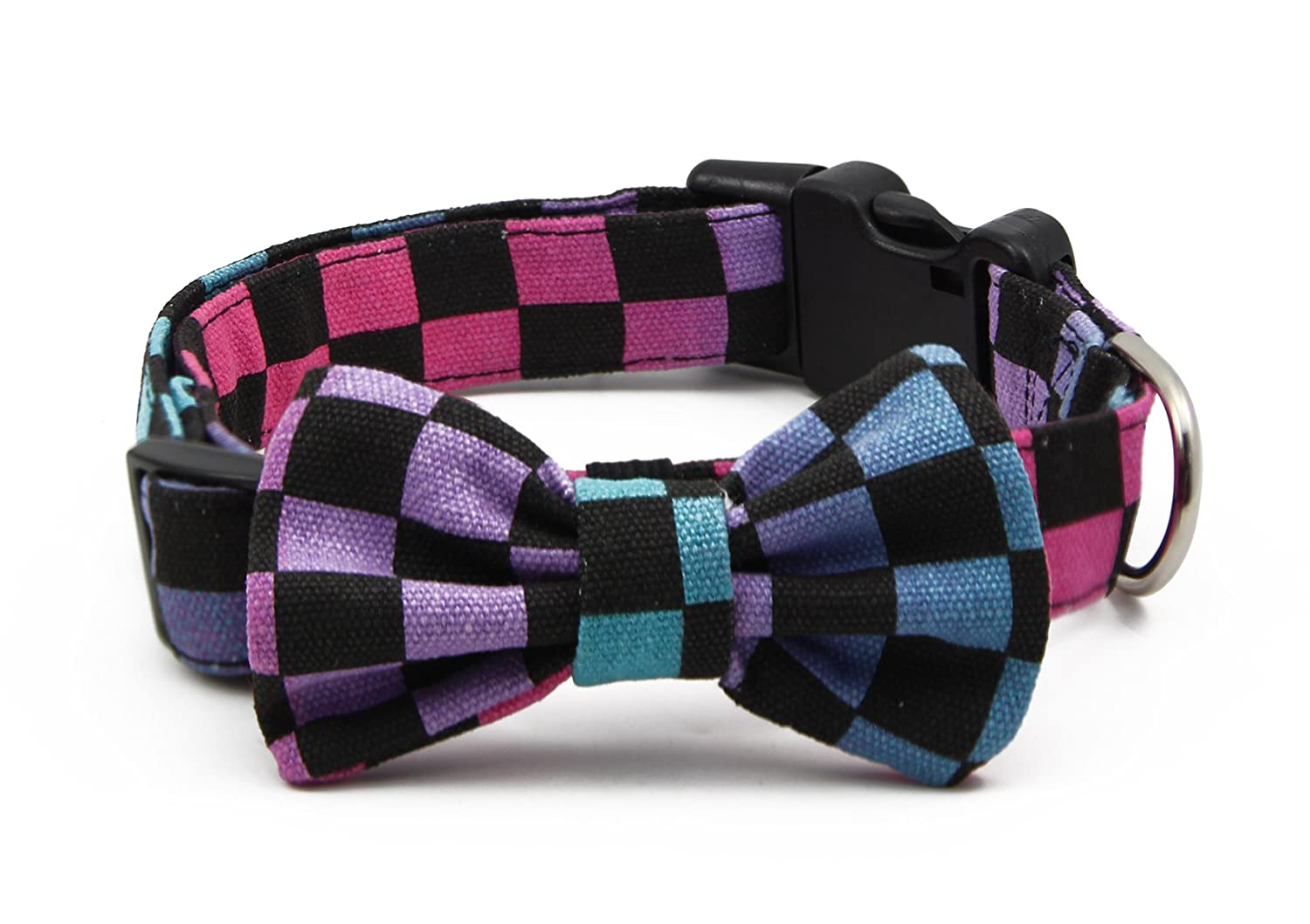 M BIG SMILE PAW Nylon Dog Collar with Bow Tie Detachable,Adjustable Dog Collar (Pattern 3(grid), M)