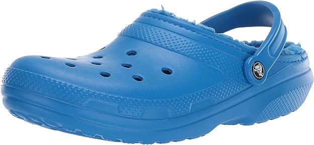 Crocs Men's and Women's Classic Lined Clog   Fuzzy Slippers, Bright Cobalt/ Bright Cobalt, 7 Women / 5 Men