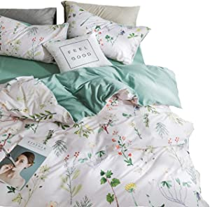 Jane yre Botanical Floral Duvet Cover Sets Queen Cotton,Red Yellow Flower Branches Design Bedding 3 Pieces with Zipper Closure 4 Corner Ties Comfortable,Lightweight,Breathable(NO Comforter)