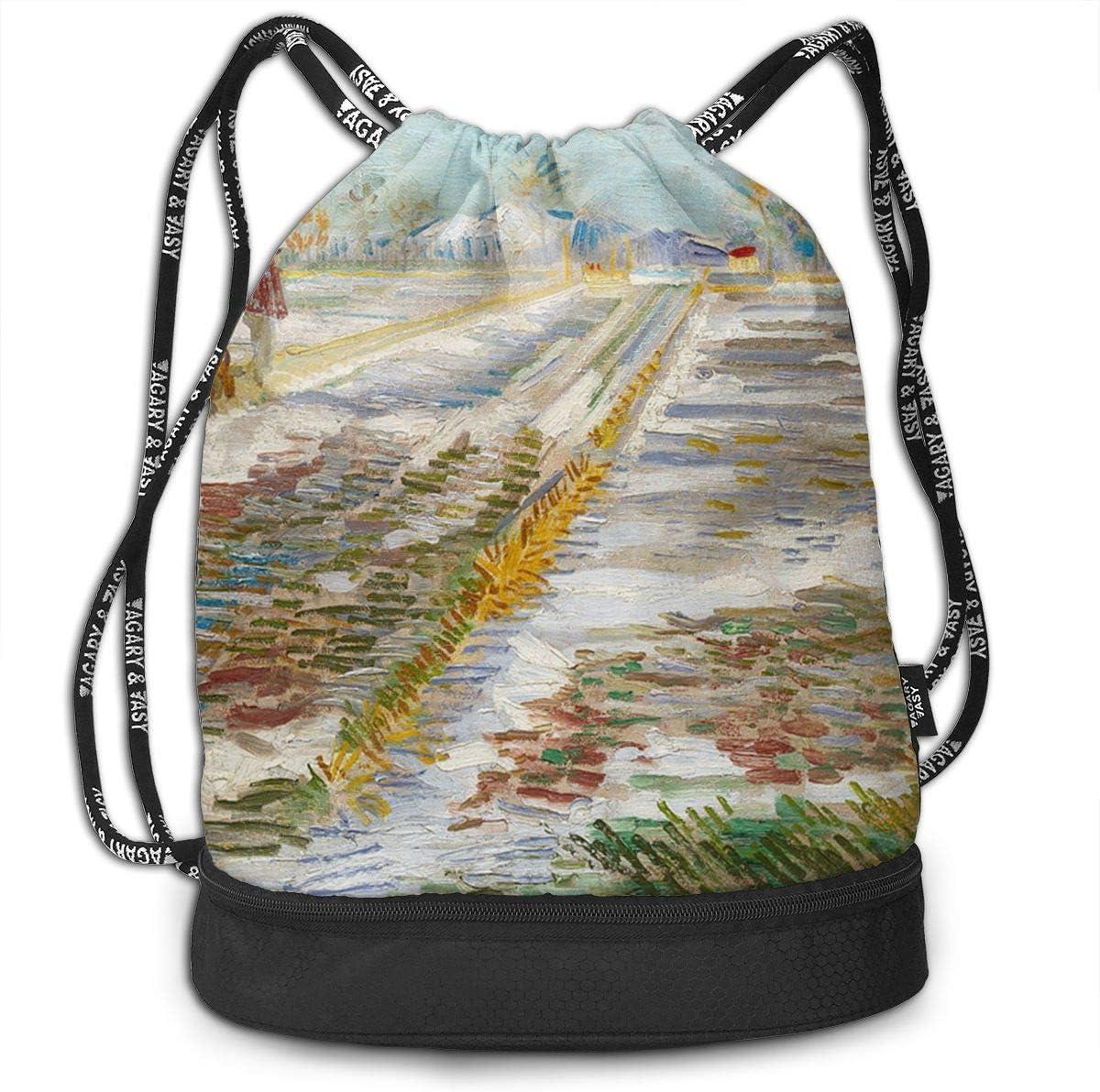 HUOPR5Q Landscape with Snow Drawstring Backpack Sport Gym Sack Shoulder Bulk Bag Dance Bag for School Travel