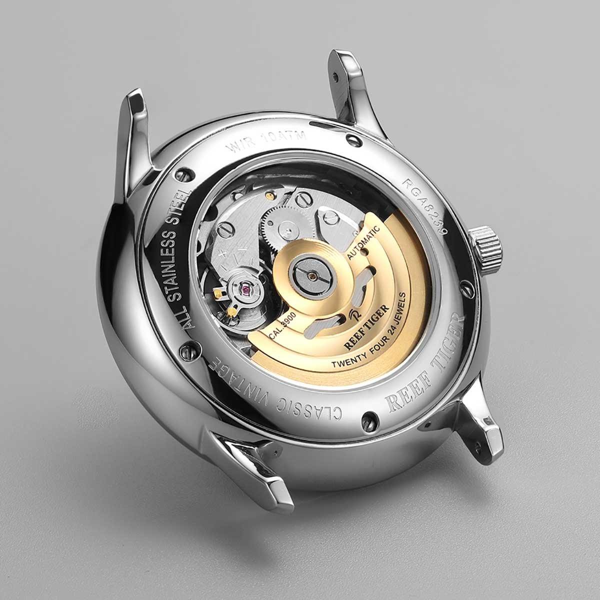 Reef tiger klänning klockor för män konvex lins glas stål automatiska klockor läderband RGA8238 Rga8238-ybbh