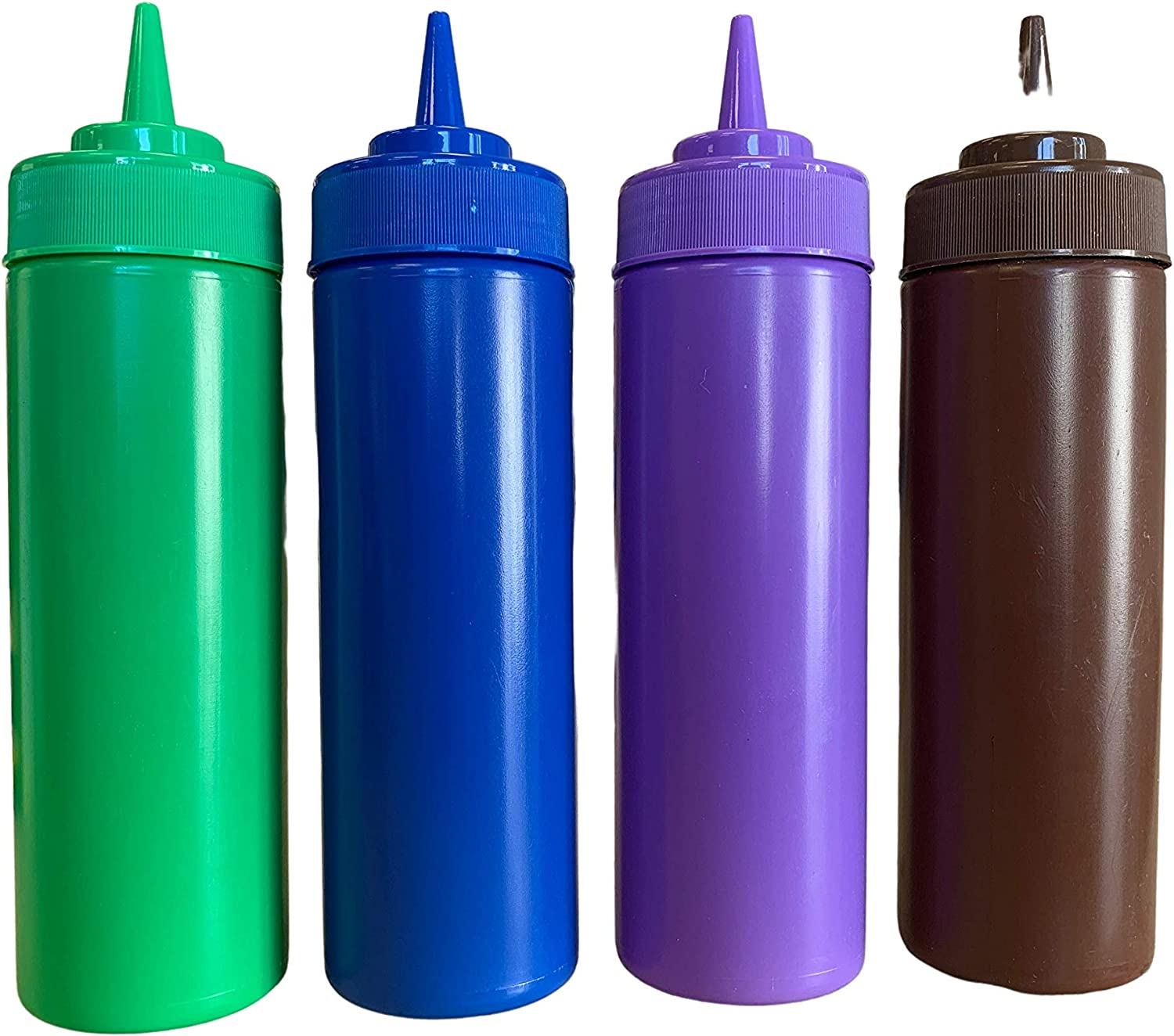 bark and lindy Rainbow Colors BPA Free Food Prep 12 oz Plastic Condiment Squeeze Bottle with Twist On Cap for Hot Sauces Ketchup Mustard Mayo Bundle of 4 Colors