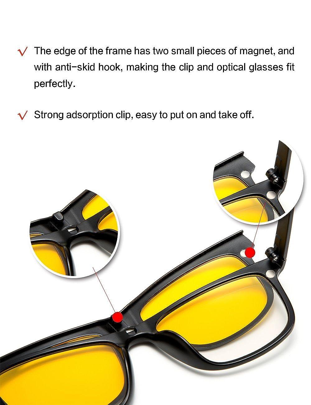 18642d82201b Amazon.com  WELUK Magnetic 5Pcs Polarized Clip-on Sunglasses Plastic  Eyeglasses Frame for Night Driving (Black