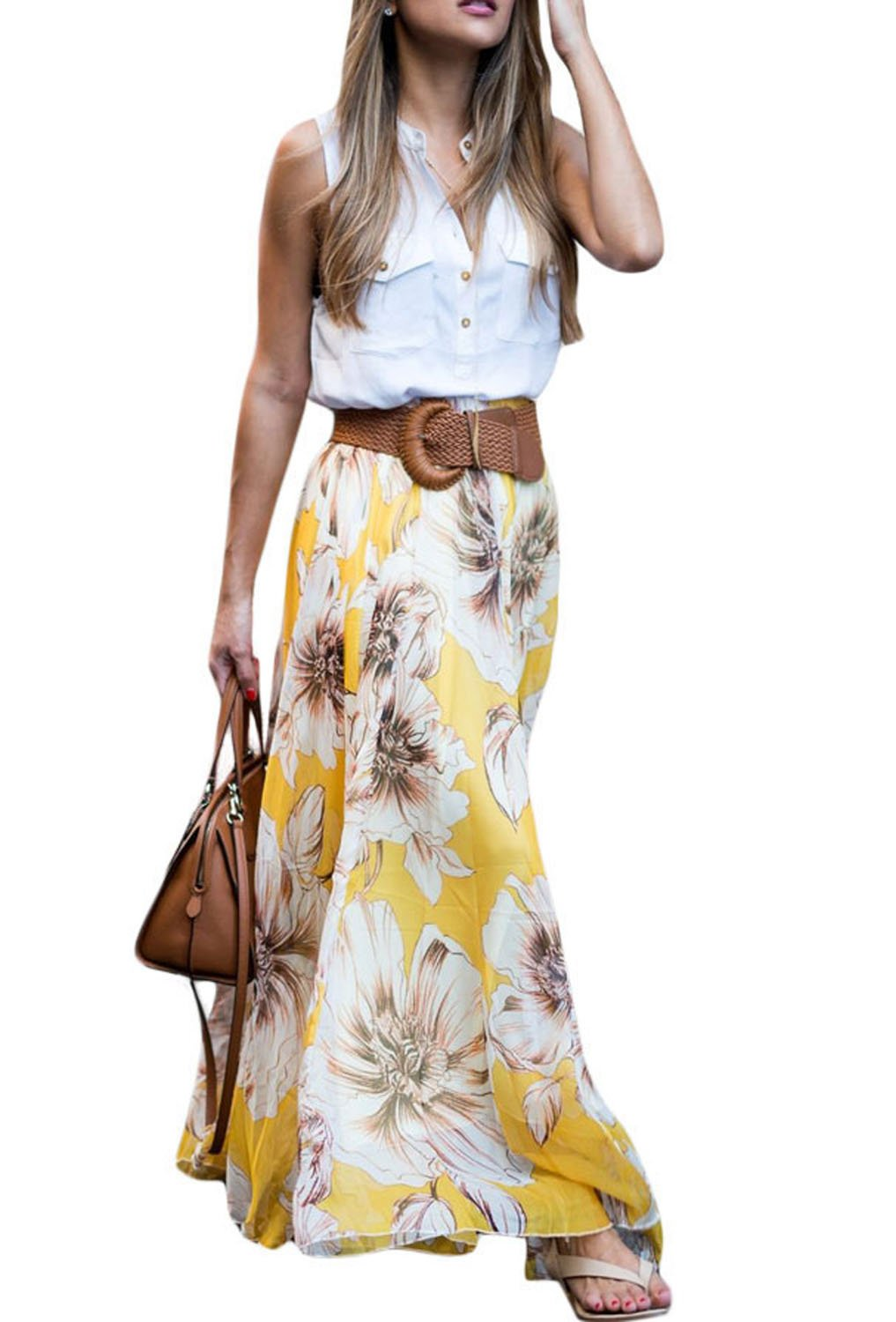 Dearlovers Vintage Full Length Floral Print Chiffon Maxi Long Skirts X-Large Size Yellow