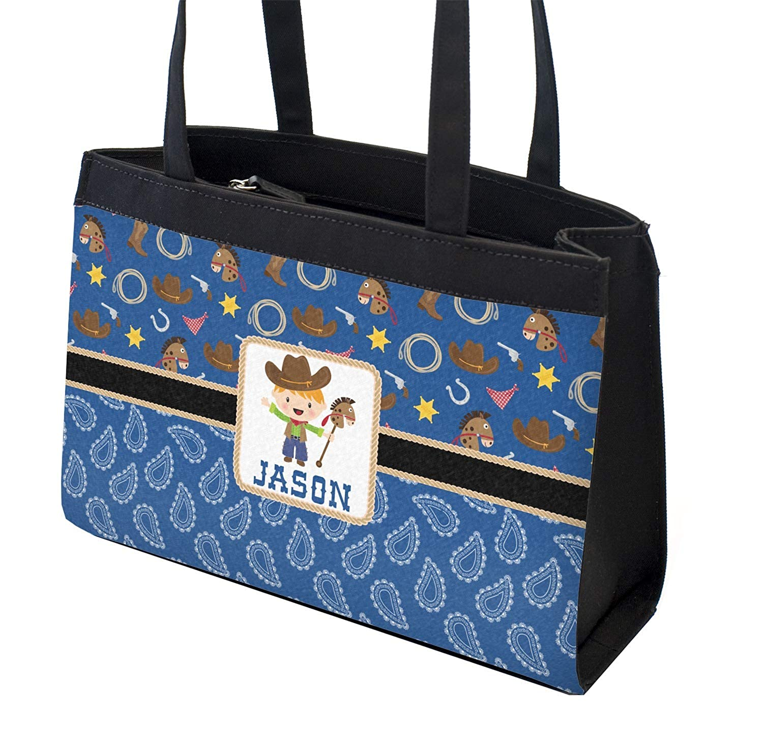 Personalized Front Blue Western Zippered Everyday Tote