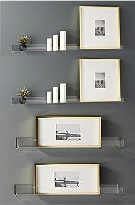 Clear Heavy Duty Floating Shelves - (4 Pack) 15 Inches Acrylic Bathroom Shelf Sets, Contemporary, Cosmetics Makeup Organizer, Storage Shelves, Wall Decor Small Bookshelf Display, Shower Caddy