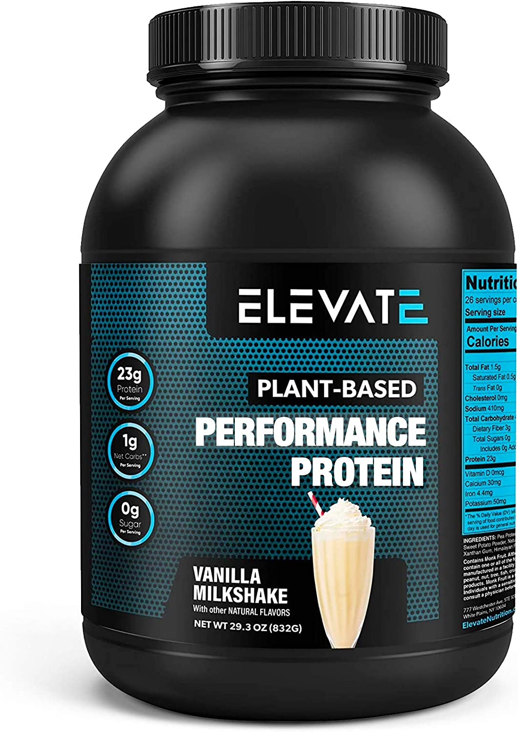 Plant Based Vegan Protein Powder with High BCAAs and Glutamine, Low Carb Protein Powder Vanilla Milkshake, Non GMO, NO Sugar, Dairy and Soy Free (26 Servings) - Elevate Nutrition: Health & Personal Care