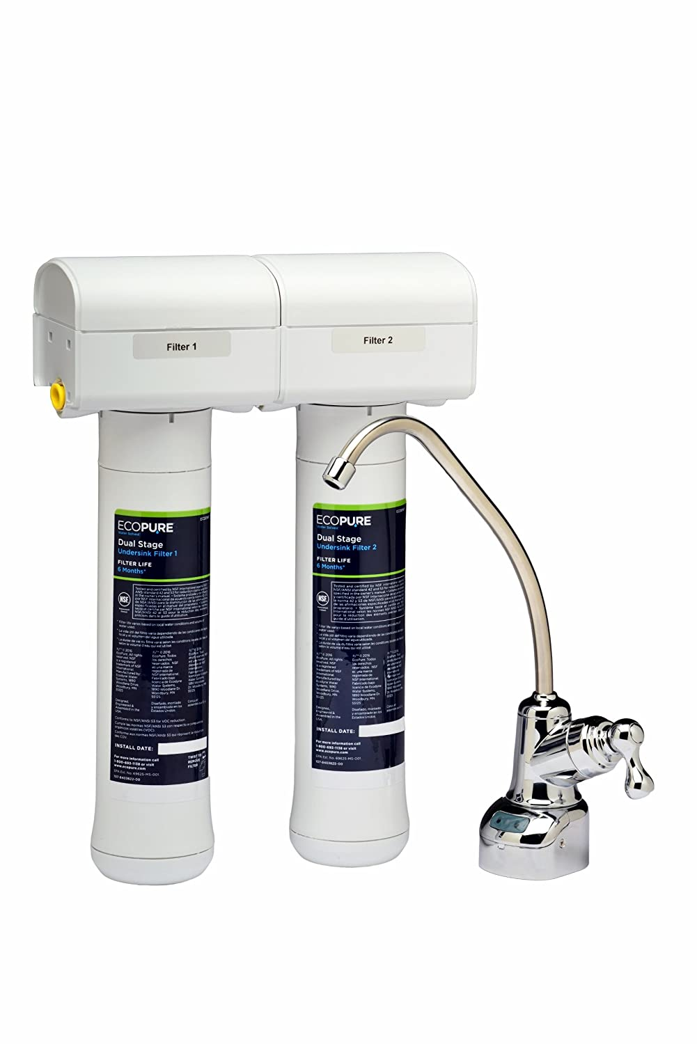 EcoPure ECOP20 Dual Stage Undersink Water Filtration System