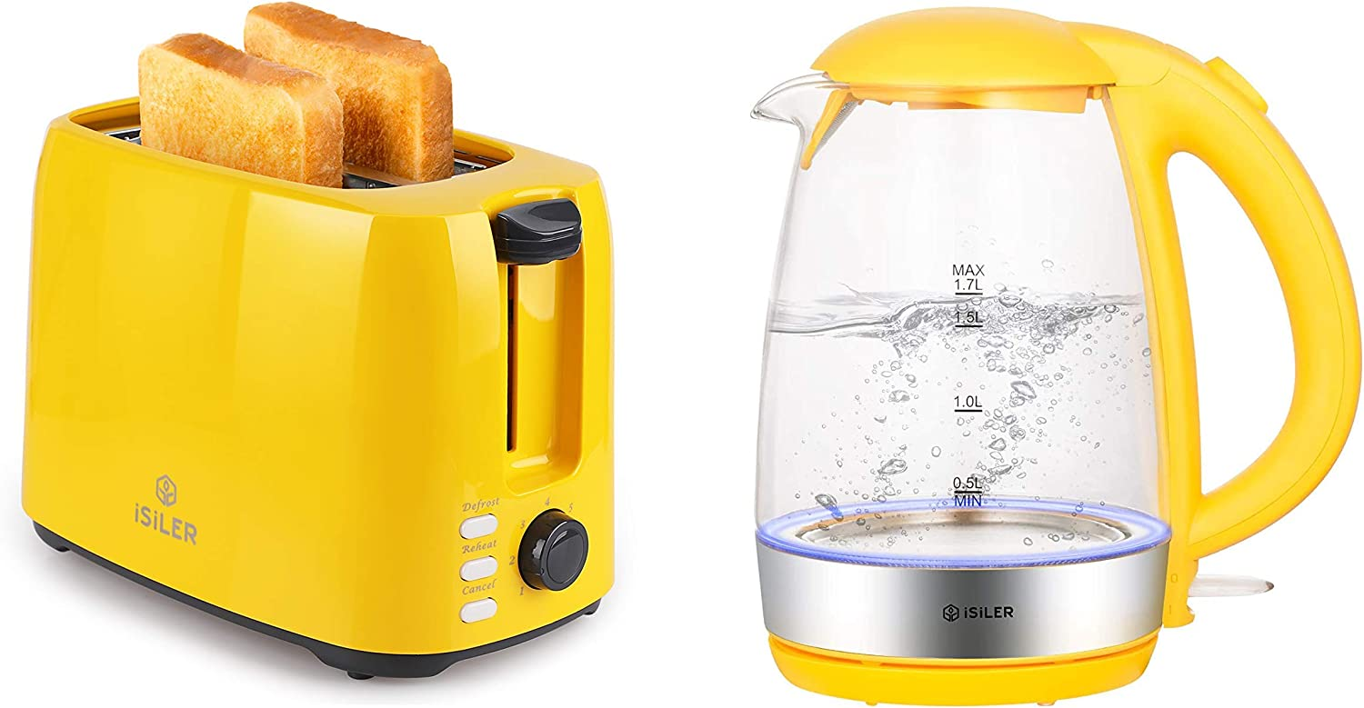 iSiLER 2 Slice Toaster 1.3 Inches Wide Slot Toaster 7 Shade Settings Double Side Baking, 1500W Electric Kettle 1.7 L Tea Kettle Cordless Electric Glass Hot Water Boiler Breakfast Station Set Yellow