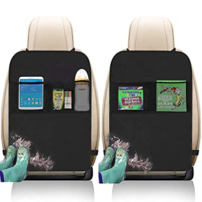 Kick Mats with Organizer - 2 Pack Backseat Protector Seat Covers for Your Car, SUV, Minivan or Truck Seats - Vehicle Back Seat Kids Safety Accessories - Universal Fit Automotive Interior Protectors : Baby [5Bkhe0404366]